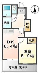 愛知県北名古屋市法成寺南出の賃貸アパートの間取り