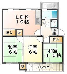 狩口台住宅21号棟[2階]の間取り