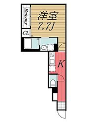千葉県千葉市稲毛区天台3丁目の賃貸アパートの間取り