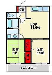 福岡県北九州市若松区大字頓田の賃貸アパートの間取り