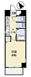 小田急小田原線 相武台前駅 徒歩3分の賃貸マンション 8階1Kの間取り
