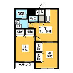 エスポワールKAZU[2階]の間取り