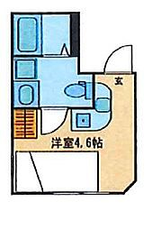 JR山手線 駒込駅 徒歩3分の賃貸マンション 2階ワンルームの間取り