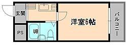 大阪府大阪市東淀川区下新庄6丁目の賃貸マンションの間取り