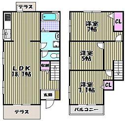 [テラスハウス] 大阪府堺市西区堀上緑町3丁 の賃貸【/】の間取り