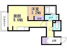 北海道札幌市豊平区平岸四条3丁目の賃貸マンションの間取り