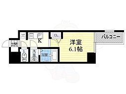 阪神なんば線 九条駅 徒歩3分の賃貸マンション 2階1Kの間取り