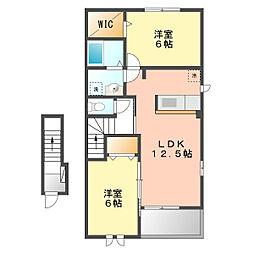 愛知県清須市春日中沼の賃貸アパートの間取り