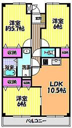 ラ・メール2[3階]の間取り