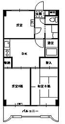 パークサイドナカオ 3階3DKの間取り