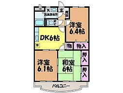 愛媛県松山市平井町の賃貸マンションの間取り