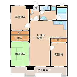 ラパスマンション諏訪野[5階]の間取り