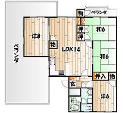 福岡県北九州市戸畑区東大谷3丁目の賃貸マンションの間取り