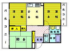 福岡県宗像市東郷2の賃貸マンションの間取り