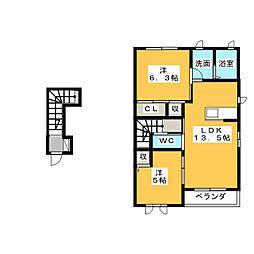 グランデュールA[2階]の間取り