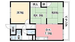 兵庫県西宮市上甲東園5丁目の賃貸マンションの間取り
