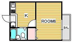 東京都府中市是政4丁目の賃貸アパートの間取り