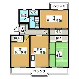 クリエートハイム竹原[1階]の間取り