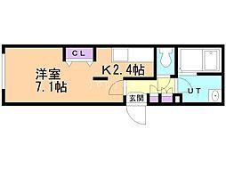 札幌市営東豊線 豊平公園駅 徒歩6分の賃貸マンション 2階1Kの間取り