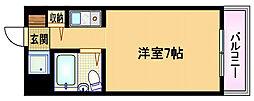 Osaka Metro谷町線 都島駅 徒歩7分の賃貸マンション 5階ワンルームの間取り