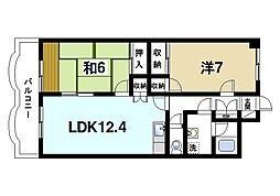 グラン・シャリオ二階堂 7階2LDKの間取り