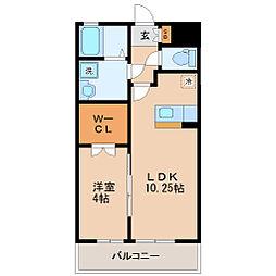 仙台市営南北線 愛宕橋駅 徒歩23分の賃貸アパート 2階1LDKの間取り