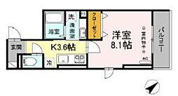 多摩都市モノレール 大塚・帝京大学駅 徒歩5分の賃貸アパート 3階1Kの間取り