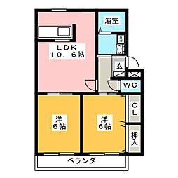 岐阜県美濃加茂市太田町の賃貸アパートの間取り