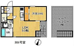 JR鹿児島本線 千早駅 徒歩8分の賃貸アパート 2階1LDKの間取り