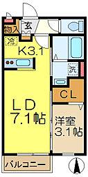 ル・クードール[1階]の間取り