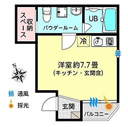 Hacienda(ハシエンダ) 1階ワンルームの間取り