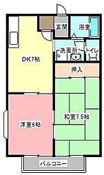静岡県浜松市中区上島2丁目の賃貸アパートの間取り
