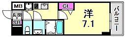 プレサンス三宮ポルト 2階1Kの間取り