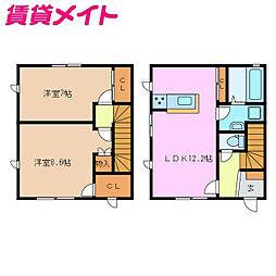 近鉄名古屋線 千代崎駅 徒歩17分の賃貸テラスハウス 1階2LDKの間取り