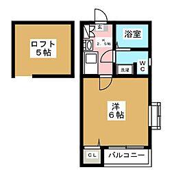 ピュア箱崎東 七番館[2階]の間取り