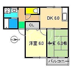 フラワーハイツ(大津)[2階]の間取り
