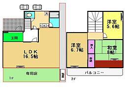 [テラスハウス] 東京都世田谷区上祖師谷3丁目 の賃貸【/】の間取り