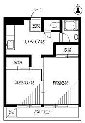 東京都中野区野方4丁目の賃貸マンションの間取り