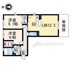JR東海道・山陽本線 石山駅 徒歩23分の賃貸アパート 1階2LDKの間取り