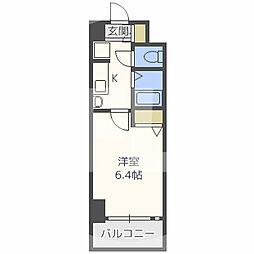 エステムコート梅田天神橋リバーフロント 8階1Kの間取り
