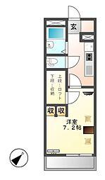 レオパレスYAHAGI I[4階]の間取り