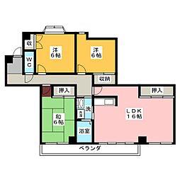 愛知県名古屋市名東区亀の井1丁目の賃貸マンションの間取り