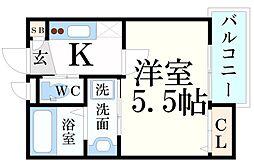 阪神本線 青木駅 徒歩5分の賃貸アパート 1階1Kの間取り