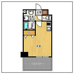 サヴォイソリディティ 13階ワンルームの間取り