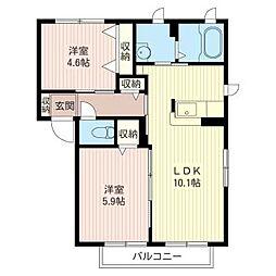 Casa Soleado F[1階]の間取り