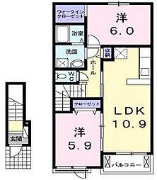 香川県高松市亀田町の賃貸アパートの間取り