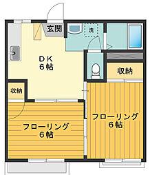 東京都東大和市高木3丁目の賃貸アパートの間取り