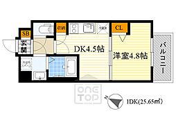 レジュールアッシュ京橋ファーストステージ 10階1DKの間取り