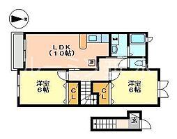 リッツハウス ヴィラ[2階]の間取り