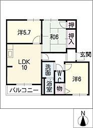 平山エコーハイツA[2階]の間取り